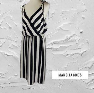 Marc Jacobs Striped Crepe Slip Dress Black White 6